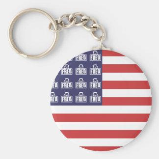 Fred Flag Basic Round Button Keychain