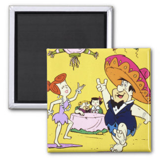 Fred Flintstone Wilma Barney and Betty Fiesta 2 Inch Square Magnet