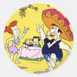 Fred Flintstone Wilma Barney and Betty Fiesta Classic Round Sticker