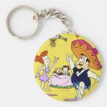 Fred Flintstone Wilma Barney and Betty Fiesta Keychain