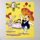 Fred Flintstone Wilma Barney and Betty Fiesta Poster