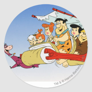 Fred Flintstone Wilma Barney and Betty PEBBLES™ Classic Round Sticker
