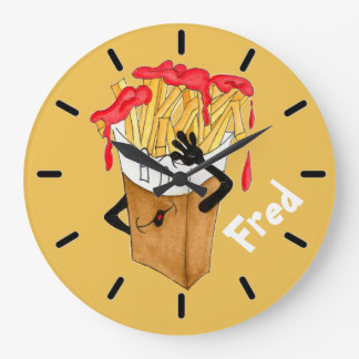 'Fred Fries'  Yellow Large Round Wall Clock