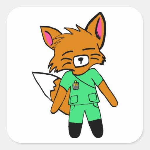 Fred la enfermera Fox Pegatina Cuadrada