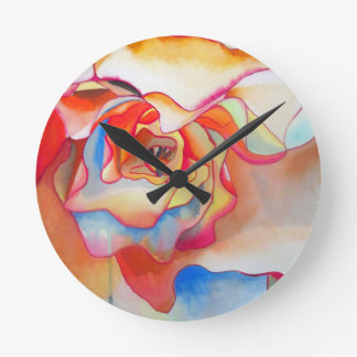 Fred martin begonia watercolour art round clock
