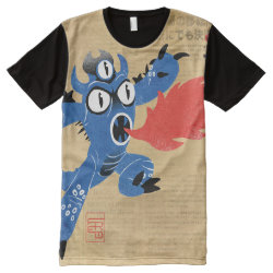 Men's American Apparel All-Over Printed Panel T-Shirt with Fred Monster Stylized design