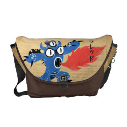 Rickshaw Medium Zero Messenger Bag with Fred Monster Stylized design