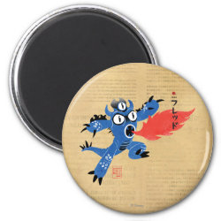 Round Magnet with Fred Monster Stylized design
