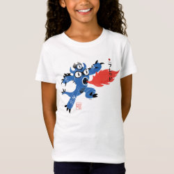 Girls' Fine Jersey T-Shirt with Fred Monster Stylized design