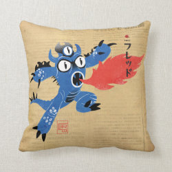 Cotton Throw Pillow with Fred Monster Stylized design