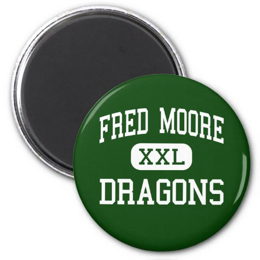 Fred Moore - Dragons - High School - Denton Texas 2 Inch Round Magnet