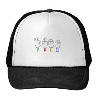 FRED   NAME ASL FINGER SPELLED TRUCKER HAT