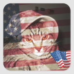 Fred patriótico pegatinas cuadradas