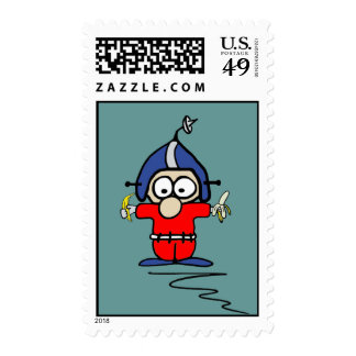 Fred Pinsocket Spaceman Postage Stamp w/background