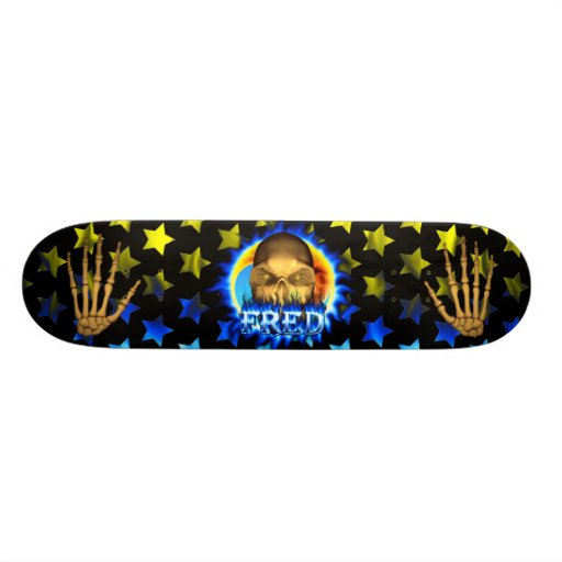 Fred skull blue fire and flames skateboard design