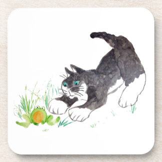 Fred the cat Has Found a Hoppy Thing Drink Coasters