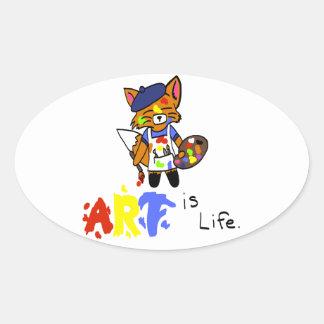 Fred the Fox- Artist Oval Sticker