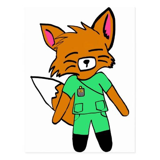 Fred the Fox- Nurse Postcard