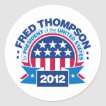 Fred Thompson para el presidente 2012 Etiquetas Redondas
