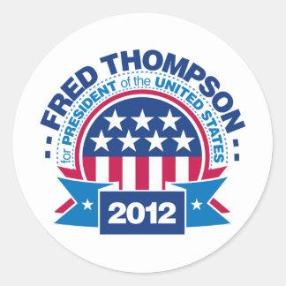Fred Thompson para el presidente 2012 Pegatina Redonda