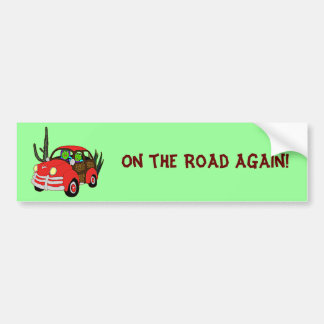 Freda and Freddie Frog Head Out Bumper Sticker