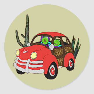 Freda and Freddie Frog Head Out Classic Round Sticker