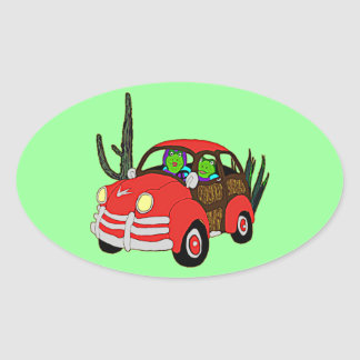 Freda and Freddie Frog Head Out Oval Sticker