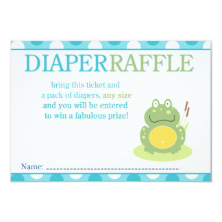 "Freddy the Frog Baby Shower Diaper Raffle Card 3.5"" X 5"" Invitation Card"