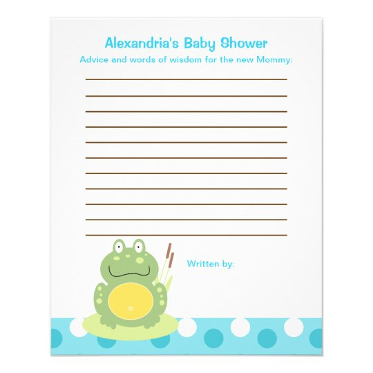 Freddy the Frog Flyer Baby Shower Advice Cards