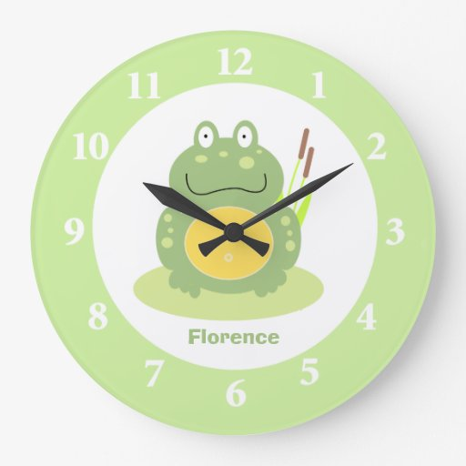 Freddy the Frog Green Froggy Nursery Wall Clock