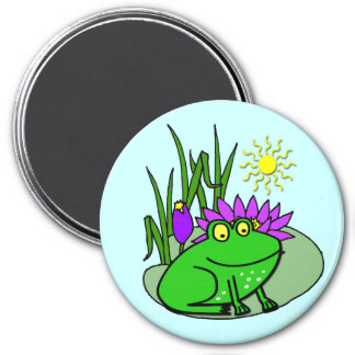 Freddy the Frog - on a Lilly Pad Cute Kid's Magnet