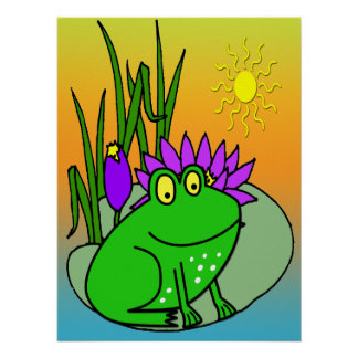Freddy the Frog - on a Lilly Pad Cute Kid's Poster