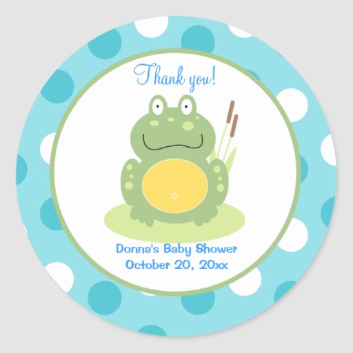 Freddy the Frog Round Favor Sticker