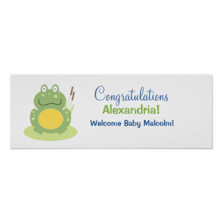 Freddy the Green Frog Baby Shower Banner Posters
