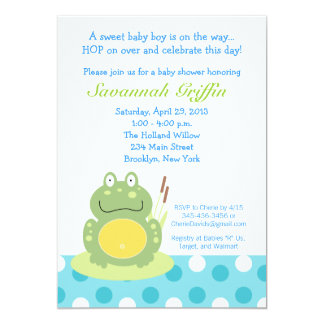 Freddy the Pond Frog Baby Shower 5x7 Invitation