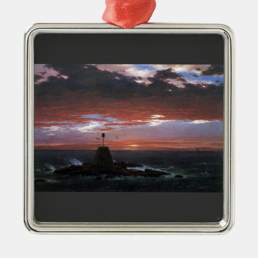 Frederic Edwin Church - Light of Mount Desert from Square Metal Christmas Ornament