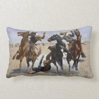 Frederic Remington - Aiding a Comrade Lumbar Pillow