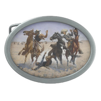 Frederic Remington - Aiding a Comrade Oval Belt Buckle