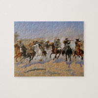 """Frederic Remington Painting """"Dash For The Timber"""" Jigsaw Puzzle"""