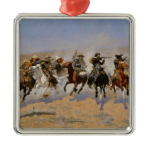 "Frederic Remington Painting ""Dash For The Timber"" Metal Ornament"
