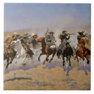 """Frederic Remington Painting """"Dash For The Timber"""" Tile"""