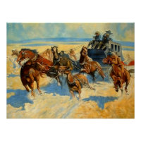 """Frederic Remington Painting """"Downing the Nigh Lead Poster"""