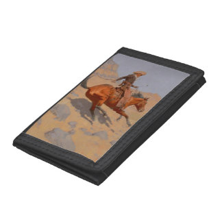 Frederic Remington - The Cowboy Trifold Wallets