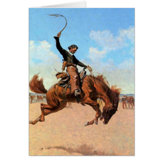 """Frederic Remington Western Art """"Bronco Buster"""" Card"""