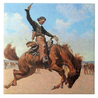"Frederic Remington Western Art ""Bronco Buster"" Tile"