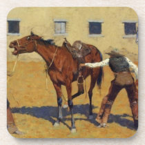 "Frederic Remington Western Art ""His First Lesson"" Drink Coaster"