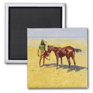"""Frederic Remington Western Art """"Hunted Down"""" Magnet"""