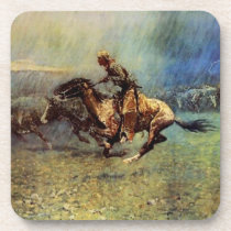 "Frederic Remington Western Art ""The Stampede"" Beverage Coaster"