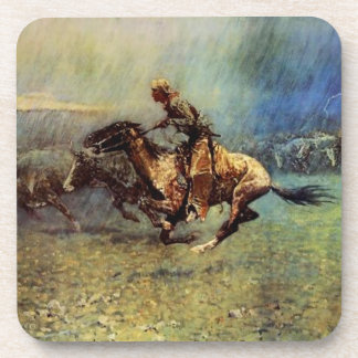 "Frederic Remington Western Art ""The Stampede"" Beverage Coaster"
