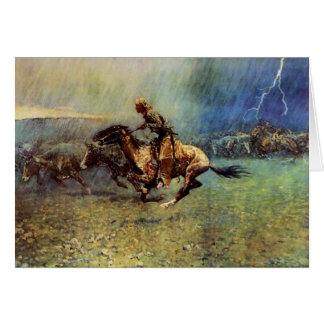 """Frederic Remington Western Art """"The Stampede"""" Card"""